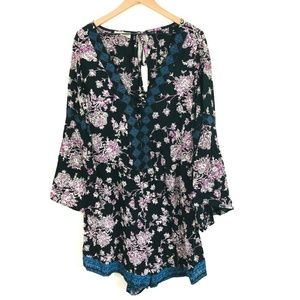 Sky and Sand Boho Bell Sleeve Floral Romper